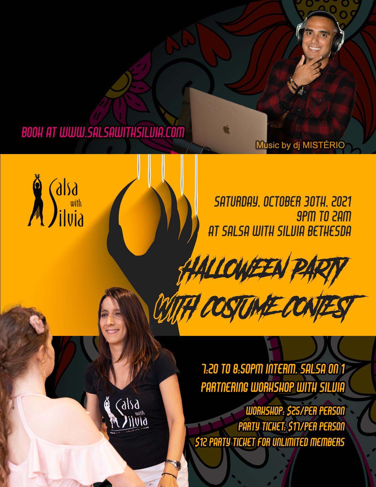 Halloween Salsa, Bachata, Kizomba party at the Salsa With Silvia dance studio in Bethesda, MD