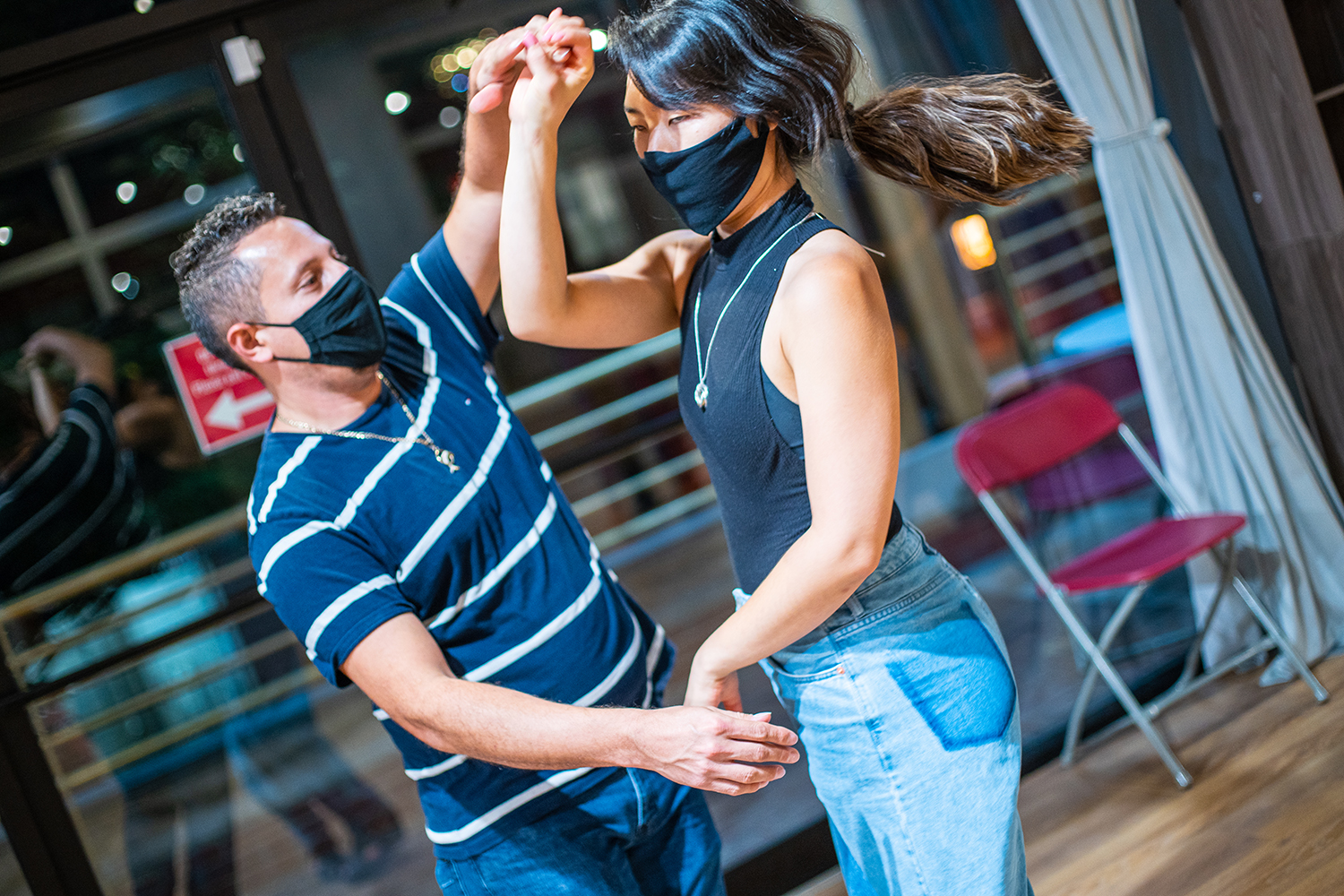 Salsa and Bachata classes during COVID-19 at the Salsa With Silvia dance studio in Bethesda. Safety precautions in place.