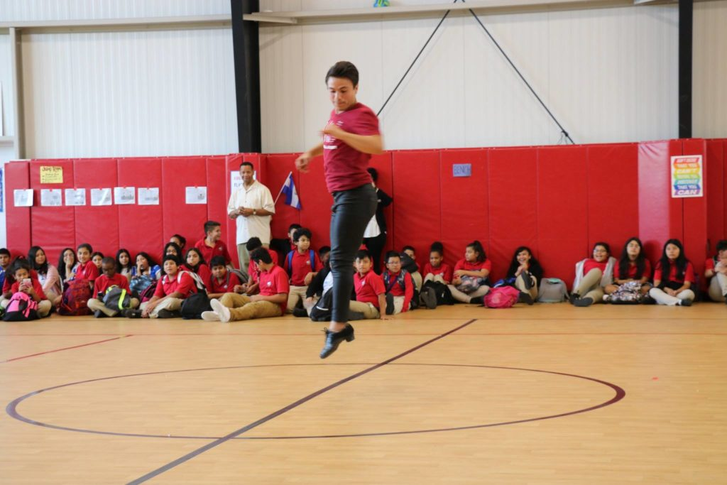 Salsa With Silvia instructor Mario Cervantes performs salsa for the Cesar Chaves students, staff and teachers to help them celebrate Hispanic Heritage Month.