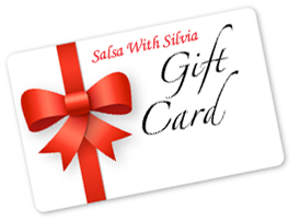 The Salsa With Silvia studio gift card - a perfect gift for a loved one for the Holiday: group and private salsa lessons, give the gift of dance!