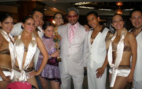 Joffre (third from right to left) with the Latin Dance Center team in the Second Salsa Congress Ecuador in 2011 where they got third place. In the middle Albert Torres, host of most of the Salsa Congress around the World.