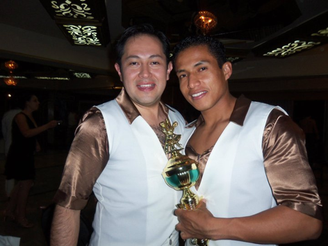Joffre (right) with Juan Poveda as part of the Latin Dance Center performance team at the second Salsa Congress om Ecuador.