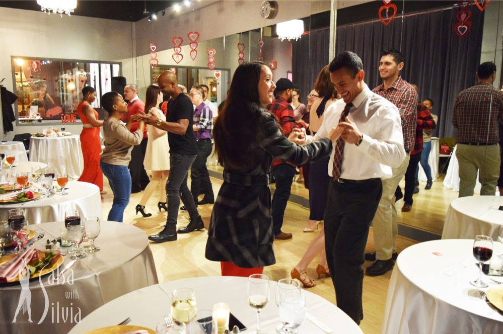 Celebrate Valentine's Day at the beautiful Salsa With Silvia dance studio - food, drinks, dance lesson, performances